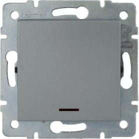 Выключатель встраиваемый Lexman Виктория 1 клавиша с подсветкой, цвет серебро матовый