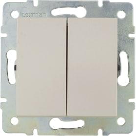 Выключатель встраиваемый Lexman Виктория 2 клавиши, цвет жемчужно-белый
