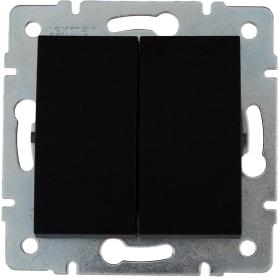 Выключатель встраиваемый Lexman Виктория 2 клавиши, цвет черный бархат матовый