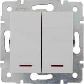 Выключатель встраиваемый Lexman Виктория 2 клавиши с подсветкой, цвет белый