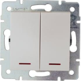 Выключатель Lexman Виктория, 2 клавиши, с подсветкой, цвет жемчужно-белый