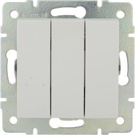 Выключатель встраиваемый Lexman Виктория 3 клавиши, цвет белый