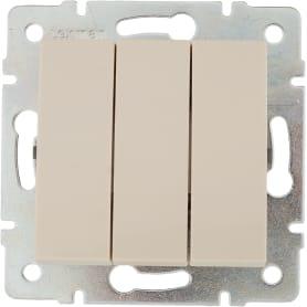 Выключатель встраиваемый Lexman Виктория 3 клавиши, цвет бежевый