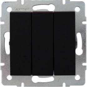 Выключатель встраиваемый Lexman Виктория 3 клавиши, цвет черный бархат матовый