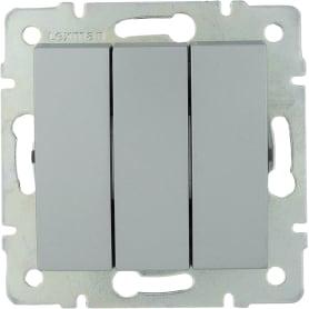 Выключатель встраиваемый Lexman Виктория 3 клавиши, цвет серебро матовый