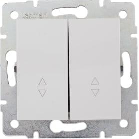 Переключатель встраиваемый Lexman Виктория 2 клавиши, цвет белый