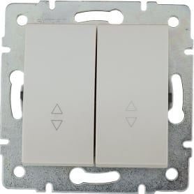 Переключатель Lexman Виктория, 2 клавиши, цвет жемчужно-белый матовый