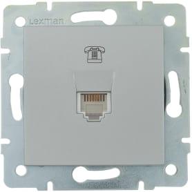 Телефонная розетка встраиваемая Lexman Виктория RJ11, цвет матовое серебро