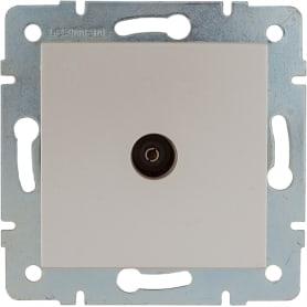 ТВ-розетка проходная встраиваемая Lexman Виктория шлейф, цвет жемчужно-белый матовый