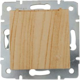 Розетка керамическая Виктория с заземлением, крышка, цвет дуб белёный