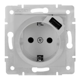Розетка встраиваемая Lexman Виктория с заземлением, разъем USB, цвет белый