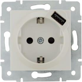 Розетка Lexman Виктория с заземлением, разъем USB, цвет жемчужно-белый матовый