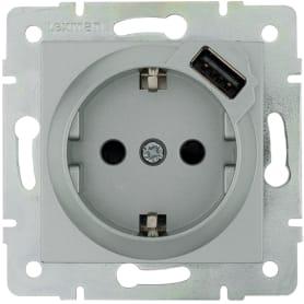 Розетка встраиваемая Lexman Виктория с заземлением, разъем USB, цвет матовое серебро
