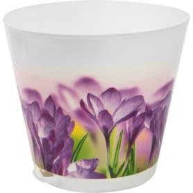 Горшок цветочный «Цветы» 3.6 л 200 мм, пластик, с поддоном