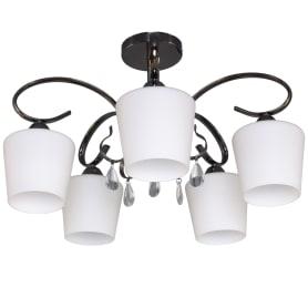 Люстра Блеск-2 5xE27x40 Вт, металл/стекло, цвет чёрный/белый