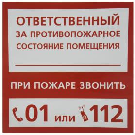 Наклейка «Ответственный за пожарную безопасность» маленькая пластик