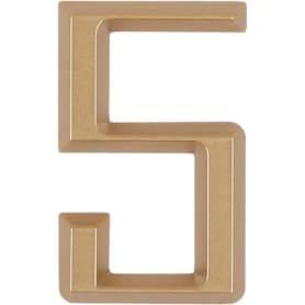 Цифра «5» Larvij самоклеящаяся 60х37 мм пластик цвет матовое золото