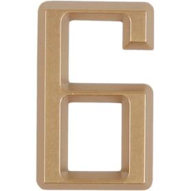 Цифра «6» Larvij самоклеящаяся 60х37 мм пластик цвет матовое золото