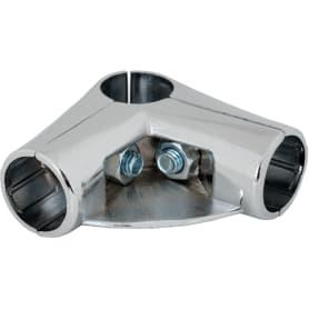 Соединитель трёх труб угловой d25 мм с площадкой для полки, цвет хром