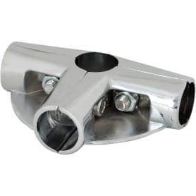 Соединитель четырёх труб d25 мм уголовй с двумя площадками для полок, цвет хром