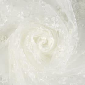 Тюль с вышивкой на сетке «Цветы» 1 п/м 280 см цвет кремовый