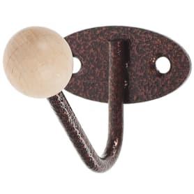 Крючок-вешалка с деревянным шариком КВД-1, цвет античная медь