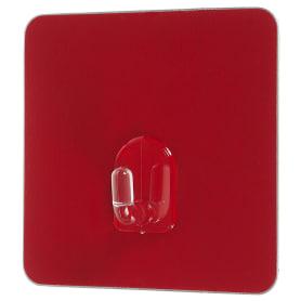 Крючок на силиконовом креплении, 6.8x6.8 мм, до 1.5 кг, цвет красный, 2 шт.