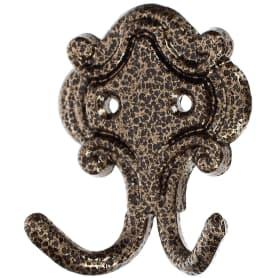 Крючок КМ-4 двухрожковый, цвет состаренная бронза