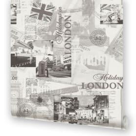 Обои бумажные на флизелиновой основе Московская Обойная Фабрика Лондон серые 0.53 м 271242-3