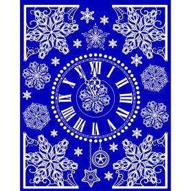 Украшение новогоднее оконное «Новогодние часы», наклейка