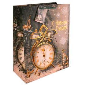Пакет новогодний «Часы Ретро», 18х23х10