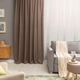 Штора на ленте «Лукс» 200х260 см цвет серо-коричневый