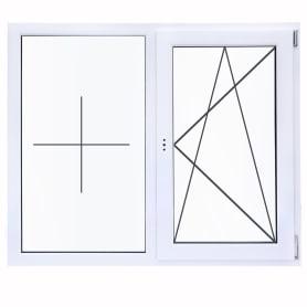 Окно ПВХ двустворчатое 120х120 см глухое/поворотно-откидное правое