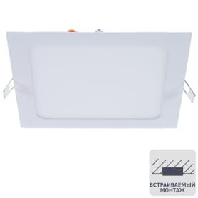 Светильник светодиодный встраиваемый квадратный 12 Вт, 4000K, 18 см, цвет белый, свет холодный белый
