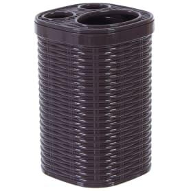Стакан для зубных щёток настольный Swensa «Rotang» пластик цвет темно-коричневый