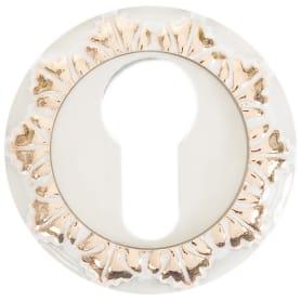 Накладка на цилиндр RENZ, цвет белый/глянцевое золото