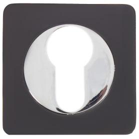Накладка квадратная на цилиндр RENZ, цвет чёрный/хром