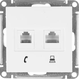 Телефонная/компьютерная розетка встраиваемая Schneider Electric W59 RJ11, цвет белый