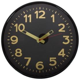 """Часы настенные """"Золото"""" цвет черный диаметр 30 см"""