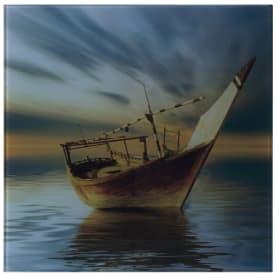 Картина на стекле 30х30 см «Вечер лодка»