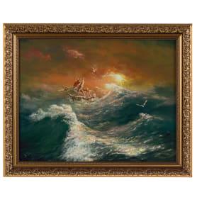 Картина в раме 40x50 см «Лодка шторм»