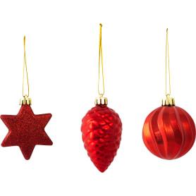 Украшение ёлочное «Шишка-звезда-шар», 6 см, цвет красный