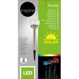 Светильник садовый Inspire «Ferula» на солнечных батареях, регулируемый цвет света RGB, цвет никель
