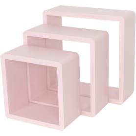 Полка кубическая, 20х10 см/24х10 см/28х10 см, цвет розовый, 3 шт.