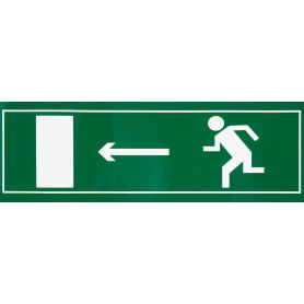 """Наклейка большая 15 """"Направление к эвакуационному выходу налево"""""""