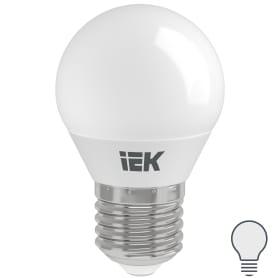 Лампа светодиодная IEK «Шар» G45, E27, 7 Вт, 230 В, 4000 К, свет холодный белый