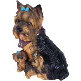 Фигура садовая «Собака Йорк с щенками» h30 см