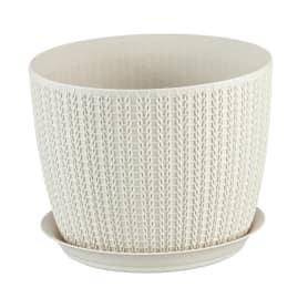 Кашпо с поддоном «Вязание» 2.8 л, 180 мм, ротанг, цвет белый