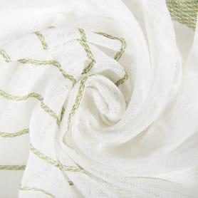 Тюль «Полосы» 300 см эффект льна цвет зелёный