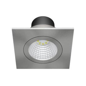 Светильник точечный встраиваемый квадратный Dennis 82 мм, 3.85 м², тёплый белый свет, цвет серебристый